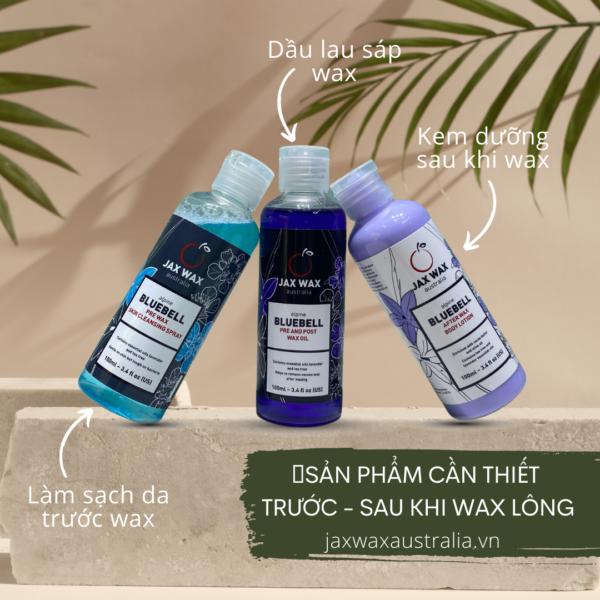 Set làm sạch da, dầu lau sáp, dưỡng sau tẩy lông Jax Wax