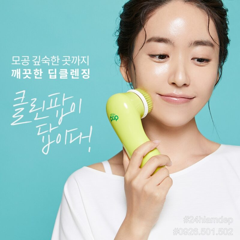 Máy rửa mặt CleanPOP 4D Hàn Quốc: rửa mặt và đánh kem nền 2 trong 1