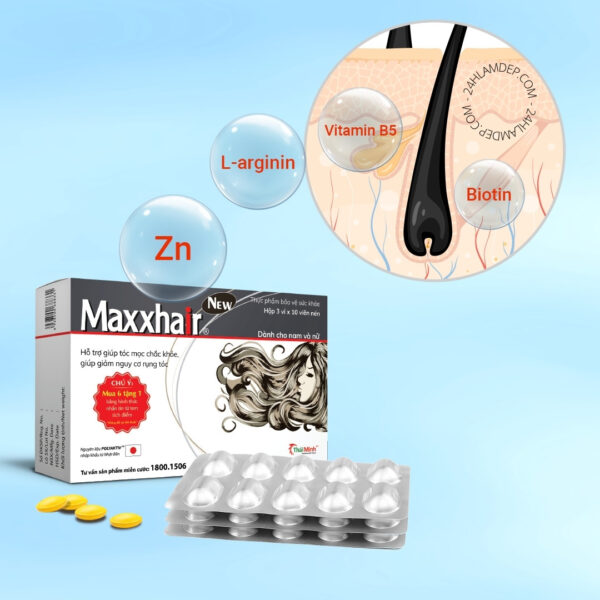 Dài tóc nhanh, ngăn rụng, kích thích mọc tóc mới với viên uống Maxxhair